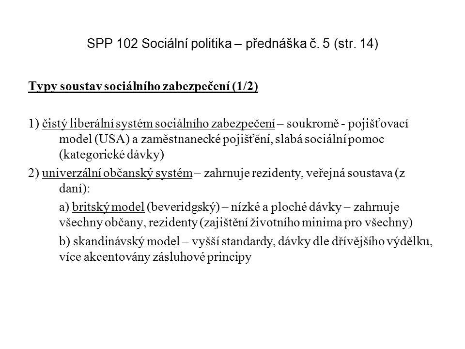 SPP 102 Sociální politika – přednáška č. 5 (str. 14) Typy soustav sociálního zabezpečení (1/2) 1) čistý liberální systém sociálního zabezpečení – souk