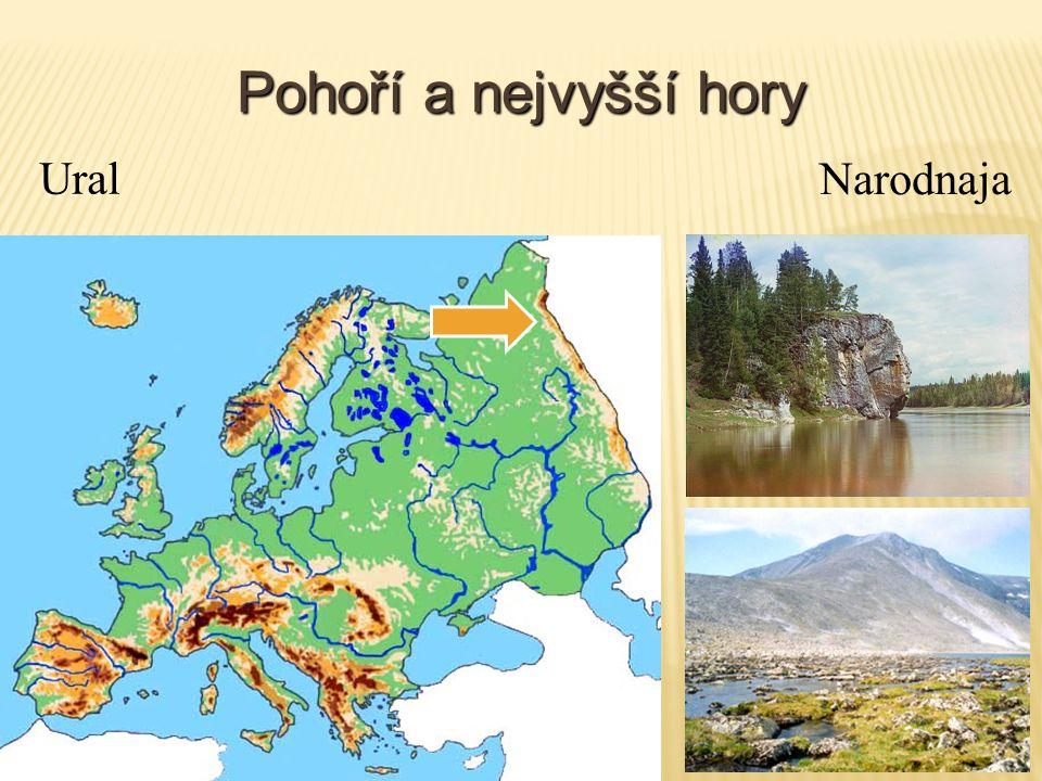 Pohoří a nejvyšší hory Ural Narodnaja