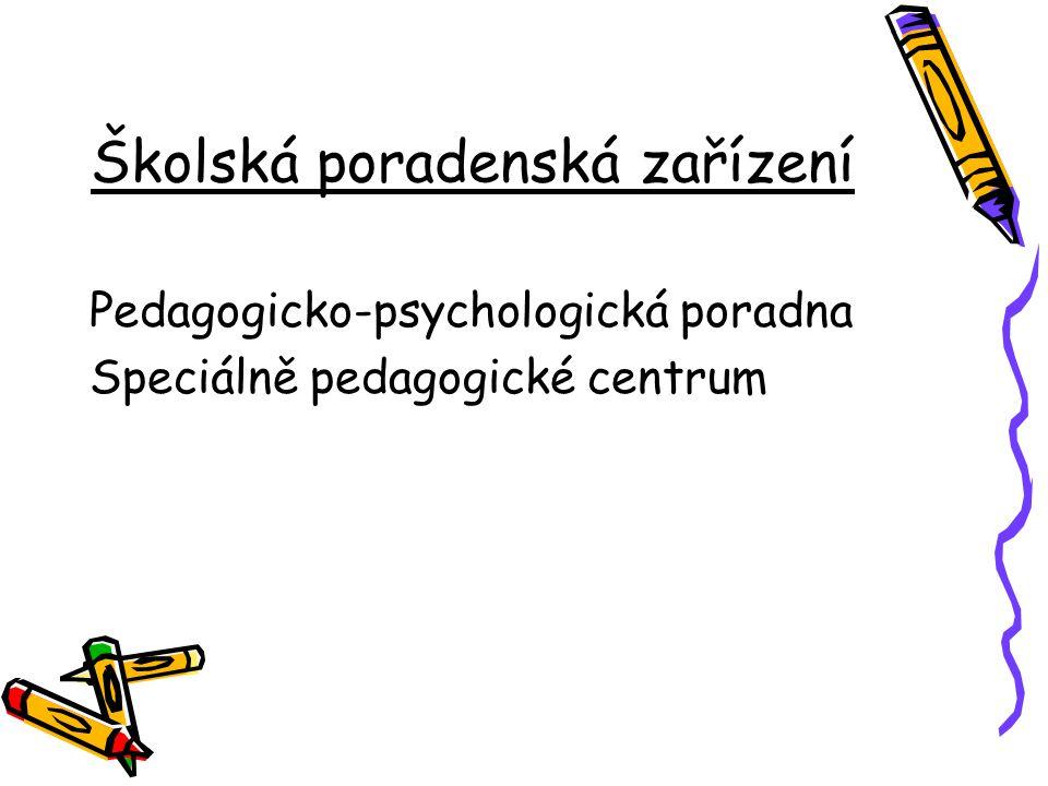 Školská poradenská zařízení Pedagogicko-psychologická poradna Speciálně pedagogické centrum