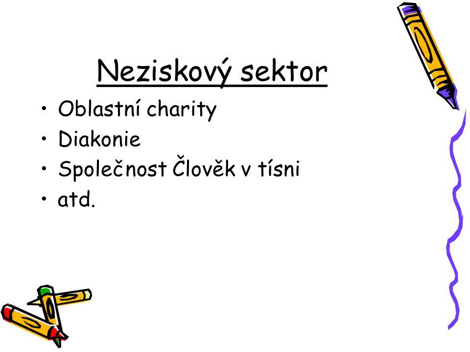 Neziskový sektor Oblastní charity Diakonie Společnost Člověk v tísni atd.