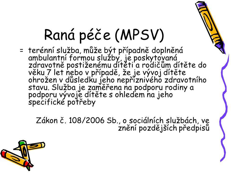 Raná péče (MPSV) = terénní služba, může být případně doplněná ambulantní formou služby, je poskytovaná zdravotně postiženému dítěti a rodičům dítěte d