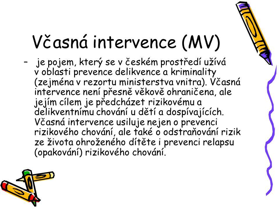Včasná intervence (MV) – je pojem, který se v českém prostředí užívá v oblasti prevence delikvence a kriminality (zejména v rezortu ministerstva vnitr