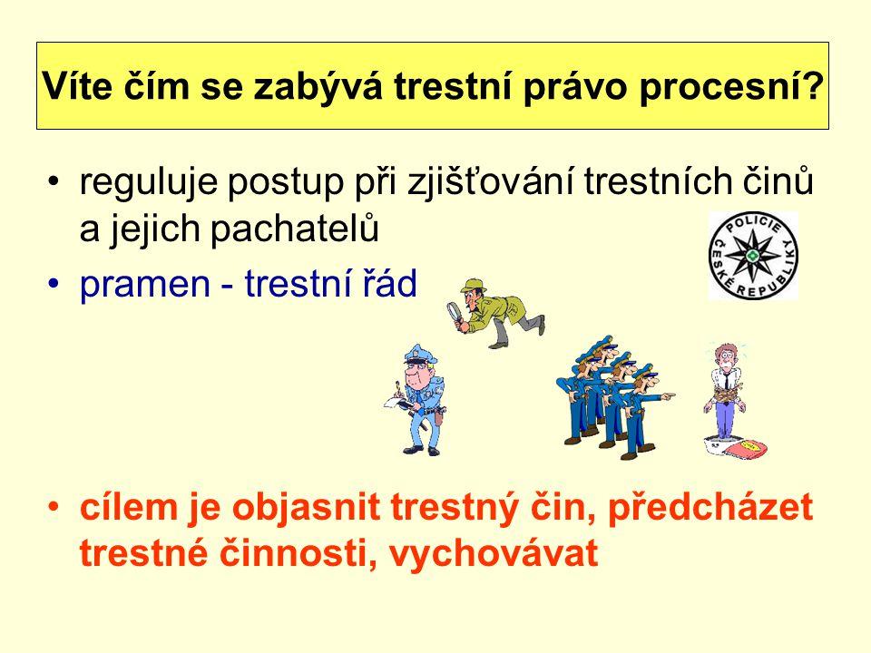 reguluje postup při zjišťování trestních činů a jejich pachatelů pramen - trestní řád cílem je objasnit trestný čin, předcházet trestné činnosti, vych