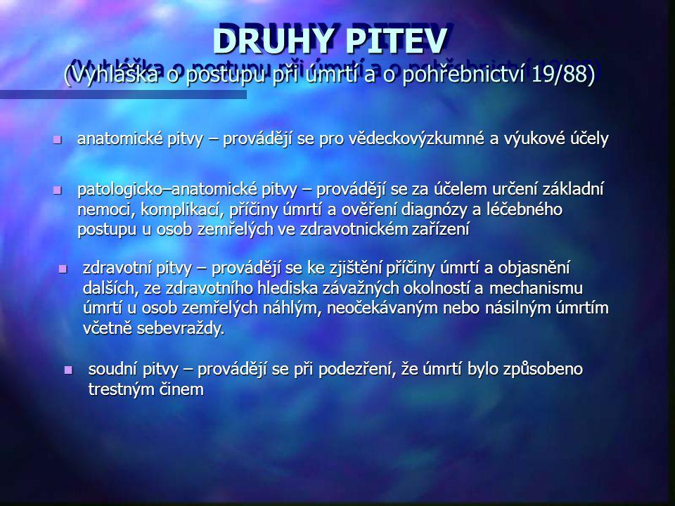 DRUHY PITEV (Vyhláška o postupu při úmrtí a o pohřebnictví 19/88) anatomické pitvy – provádějí se pro vědeckovýzkumné a výukové účely anatomické pitvy