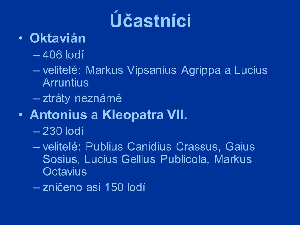 Účastníci Oktavián –406 lodí –velitelé: Markus Vipsanius Agrippa a Lucius Arruntius –ztráty neznámé Antonius a Kleopatra VII. –230 lodí –velitelé: Pub