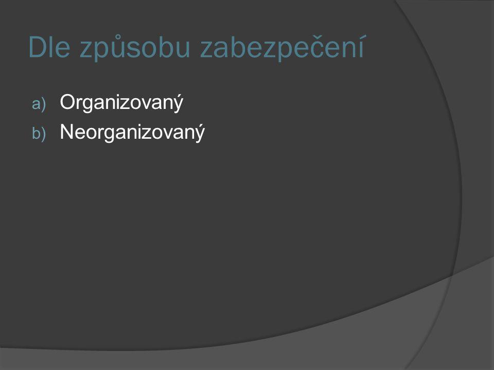 Dle způsobu zabezpečení a) Organizovaný b) Neorganizovaný