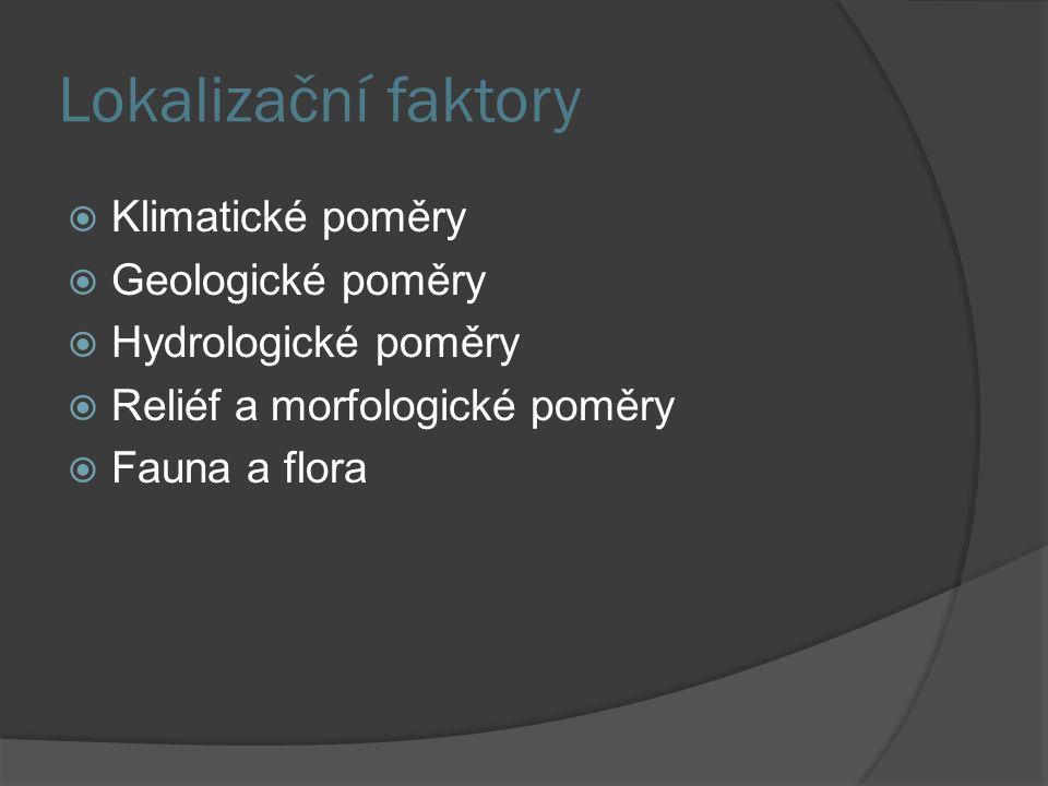 Lokalizační faktory  Klimatické poměry  Geologické poměry  Hydrologické poměry  Reliéf a morfologické poměry  Fauna a flora