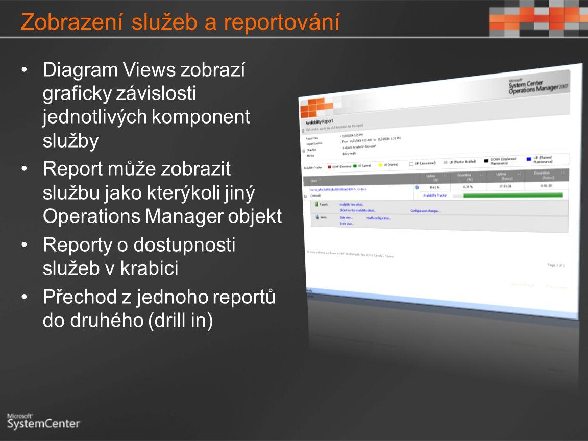 Zobrazení služeb a reportování Diagram Views zobrazí graficky závislosti jednotlivých komponent služby Report může zobrazit službu jako kterýkoli jiný