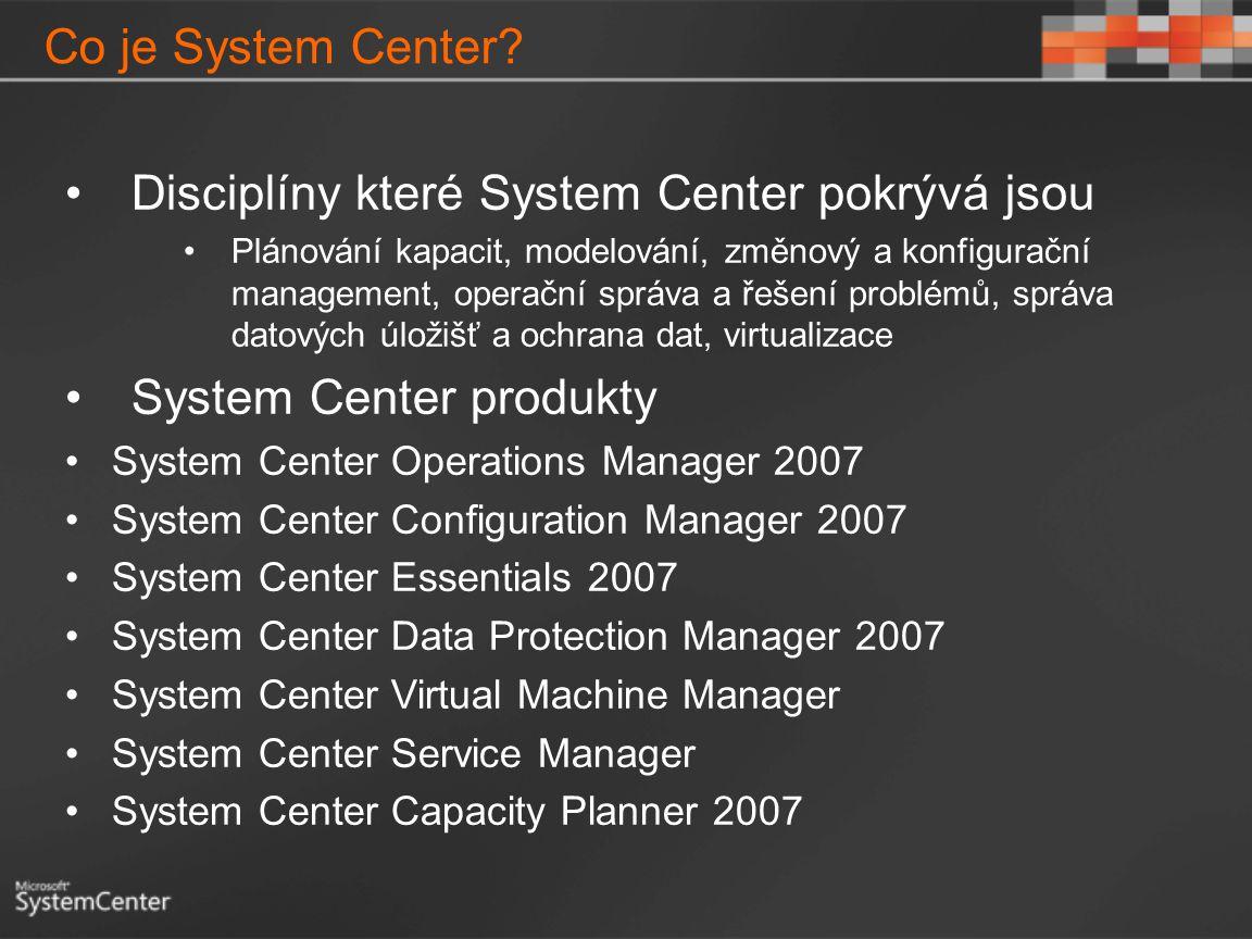 Co je System Center? Disciplíny které System Center pokrývá jsou Plánování kapacit, modelování, změnový a konfigurační management, operační správa a ř