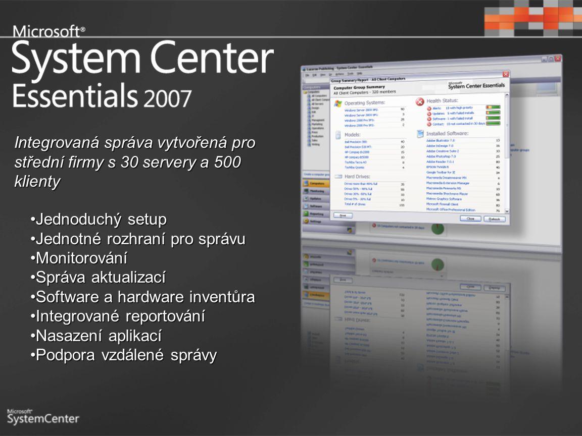 Jednoduchý setupJednoduchý setup Jednotné rozhraní pro správuJednotné rozhraní pro správu MonitorováníMonitorování Správa aktualizacíSpráva aktualizac