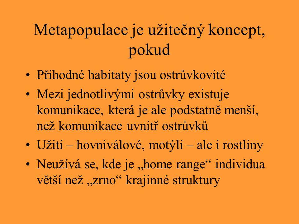 """Metapopulace je užitečný koncept, pokud Příhodné habitaty jsou ostrůvkovité Mezi jednotlivými ostrůvky existuje komunikace, která je ale podstatně menší, než komunikace uvnitř ostrůvků Užití – hovniválové, motýli – ale i rostliny Neužívá se, kde je """"home range individua větší než """"zrno krajinné struktury"""