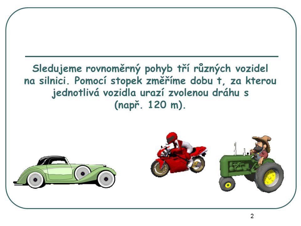 vozidlodráha sdoba tdráha za 1 sekundu motocykl120 m8 s15 m osobní auto120 m6 s20 m traktor120 m24 s5 m Výsledky zapíšeme do tabulky.