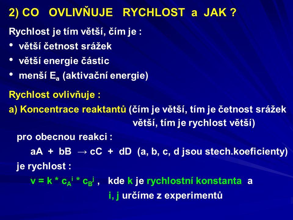2) CO OVLIVŇUJE RYCHLOST a JAK ? Rychlost je tím větší, čím je : větší četnost srážek větší energie částic menší E a (aktivační energie) Rychlost ovli