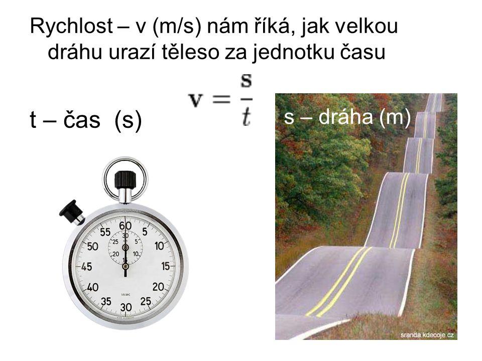 Rychlost – v (m/s) nám říká, jak velkou dráhu urazí těleso za jednotku času t – čas (s) s – dráha (m)