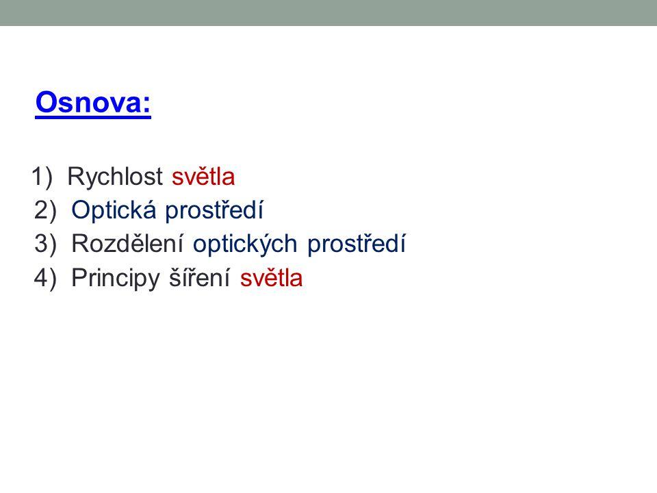 Osnova: 1) Rychlost světla 2) Optická prostředí 3) Rozdělení optických prostředí 4) Principy šíření světla