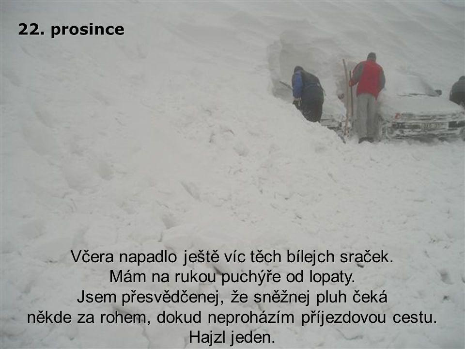 19. prosince Další sníh napadl minulou noc. Kvůli zahrnuté příjezdové cestě jsem se nedostal do práce. Jsem úplně vyčerpán prohazováním. Zkurvenej sně