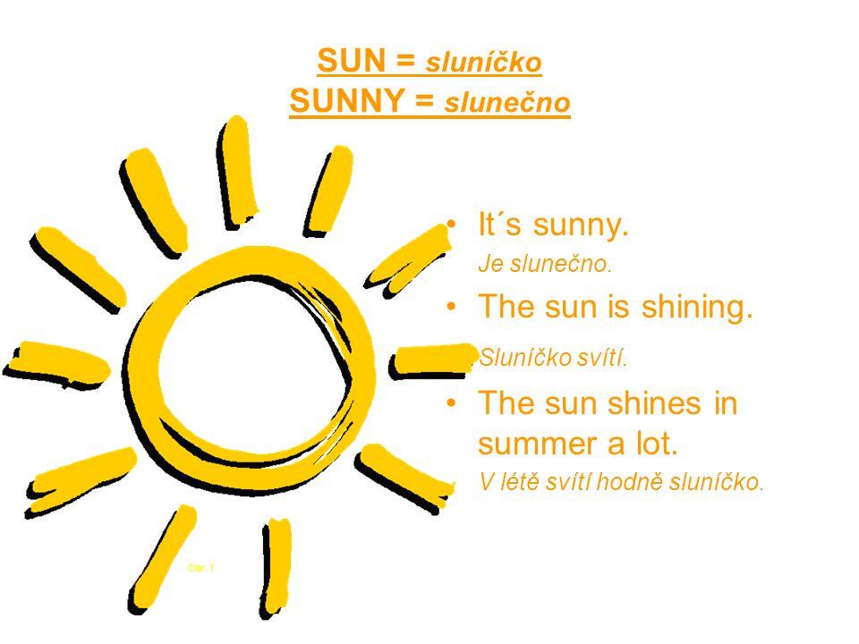 SUN = sluníčko SUNNY = slunečno It´s sunny. Je slunečno.