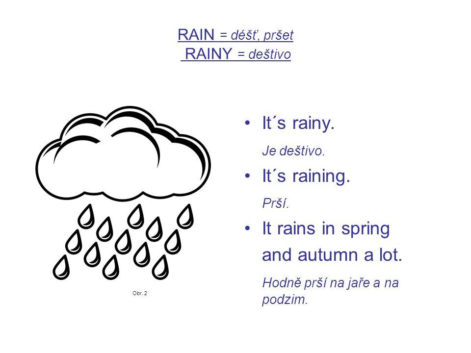 RAIN = déšť, pršet RAINY = deštivo It´s rainy. Je deštivo.