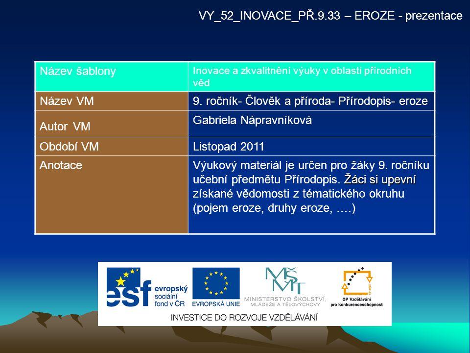 VY_52_INOVACE_PŘ.9.33 – EROZE - prezentace Název šablony Inovace a zkvalitnění výuky v oblasti přírodních věd Název VM9. ročník- Člověk a příroda- Pří