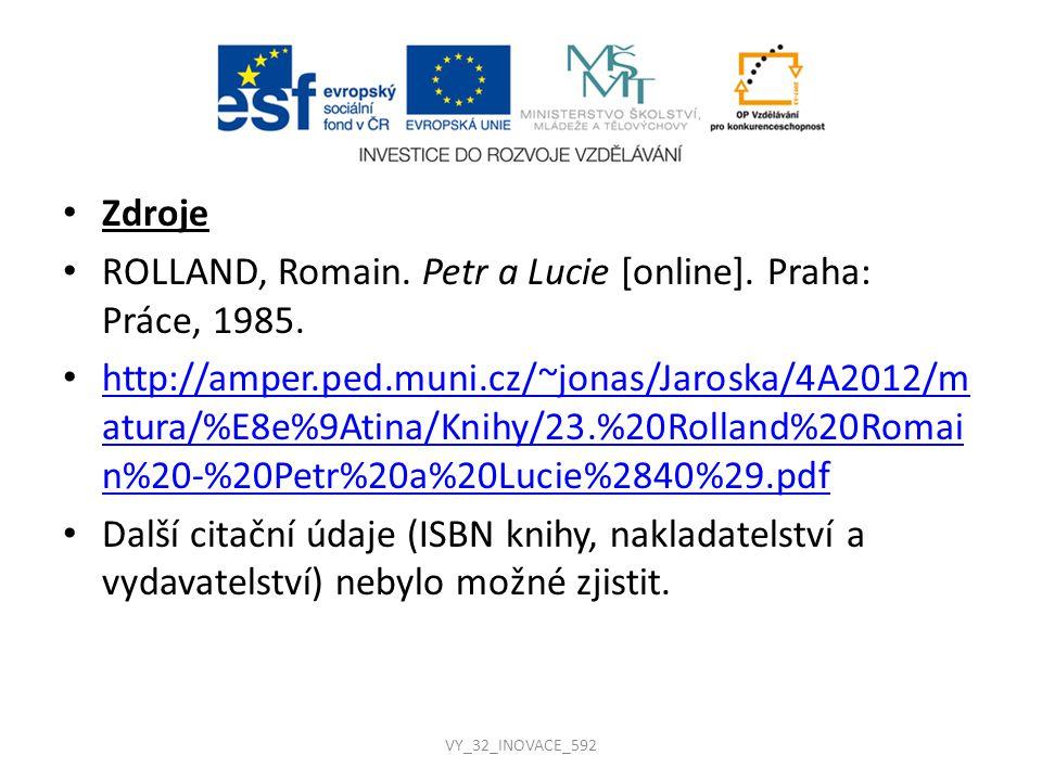 Zdroje ROLLAND, Romain. Petr a Lucie [online]. Praha: Práce, 1985. http://amper.ped.muni.cz/~jonas/Jaroska/4A2012/m atura/%E8e%9Atina/Knihy/23.%20Roll