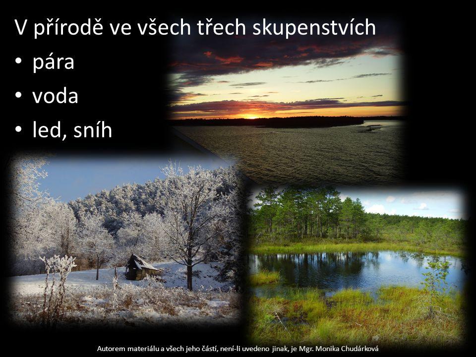 V přírodě ve všech třech skupenstvích pára voda led, sníh Autorem materiálu a všech jeho částí, není-li uvedeno jinak, je Mgr.