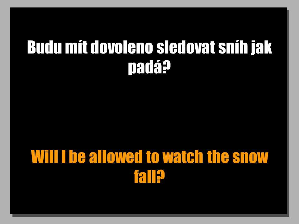 Budu mít dovoleno sledovat sníh jak padá? Will I be allowed to watch the snow fall?
