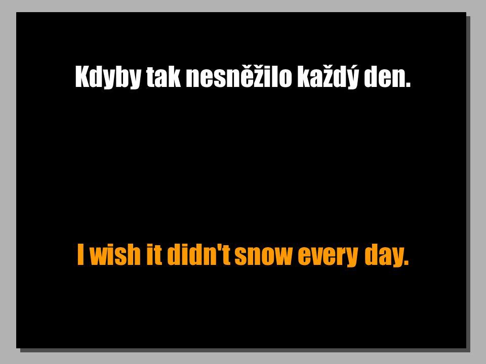Kdyby tak nesněžilo každý den. I wish it didn t snow every day.