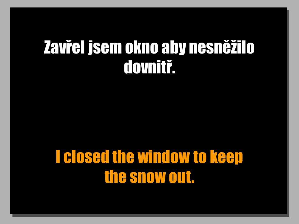 Zavřel jsem okno aby nesněžilo dovnitř. I closed the window to keep the snow out.