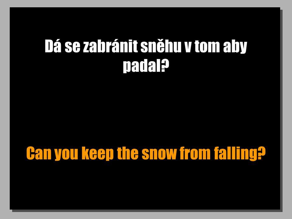 Dá se zabránit sněhu v tom aby padal? Can you keep the snow from falling?