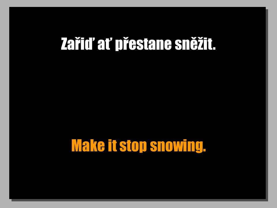 Zařiď ať přestane sněžit. Make it stop snowing.