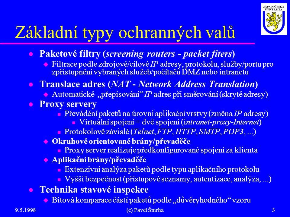 9.5.1998(c) Pavel Šmrha3 Základní typy ochranných valů l Paketové filtry (screening routers - packet fiters) u Filtrace podle zdrojové/cílové IP adres