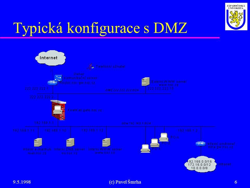 9.5.1998(c) Pavel Šmrha6 Typická konfigurace s DMZ