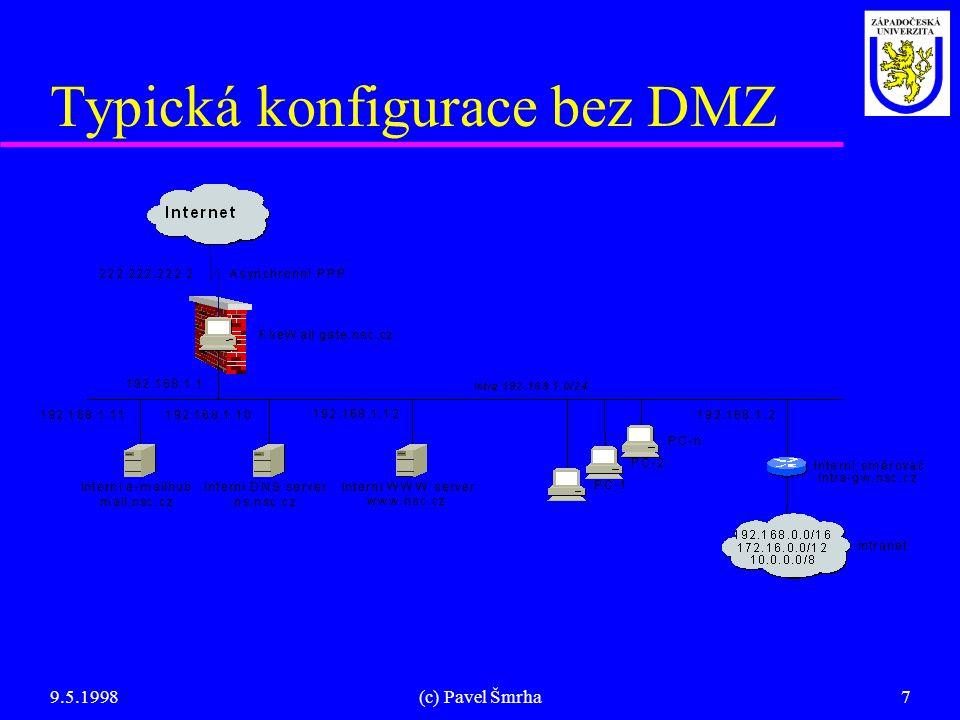 """9.5.1998(c) Pavel Šmrha8 Volně dostupný software l """"Secured Linux v2.0.x kernel: u Speciálně vygenerované (bezpečné) jádro u IP filtrace paketů na úrovní jádra (""""anti IP spoofing ) l TIS Firewall Toolkit v1.3 (modifikovaný FWTK): u Proxy servery (volitelně transparentní) n Přístupové seznamy (ACL), autentizace uřivatelů,..."""