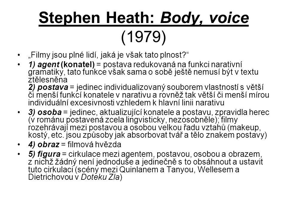 """Stephen Heath: Body, voice (1979) """"Filmy jsou plné lidí, jaká je však tato plnost? 1) agent (konatel) = postava redukovaná na funkci narativní gramatiky, tato funkce však sama o sobě ještě nemusí být v textu ztělesněna 2) postava = jedinec individualizovaný souborem vlastností s větší či menší funkcí konatele v narativu a rovněž tak větší či menší mírou individuální excesivnosti vzhledem k hlavní linii narativu 3) osoba = jedinec, aktualizující konatele a postavu, zpravidla herec (v románu postavená zcela lingvisticky, nezosobněle); filmy rozehrávají mezi postavou a osobou velkou řadu vztahů (makeup, kostý, etc."""