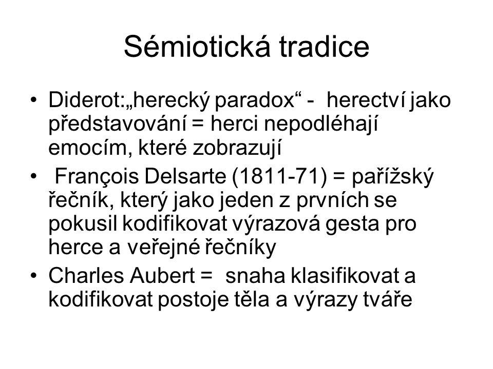 """Sémiotická tradice Diderot:""""herecký paradox - herectví jako představování = herci nepodléhají emocím, které zobrazují François Delsarte (1811-71) = pařížský řečník, který jako jeden z prvních se pokusil kodifikovat výrazová gesta pro herce a veřejné řečníky Charles Aubert = snaha klasifikovat a kodifikovat postoje těla a výrazy tváře"""