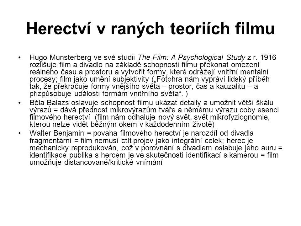 Herectví v raných teoriích filmu Hugo Munsterberg ve své studii The Film: A Psychological Study z r.