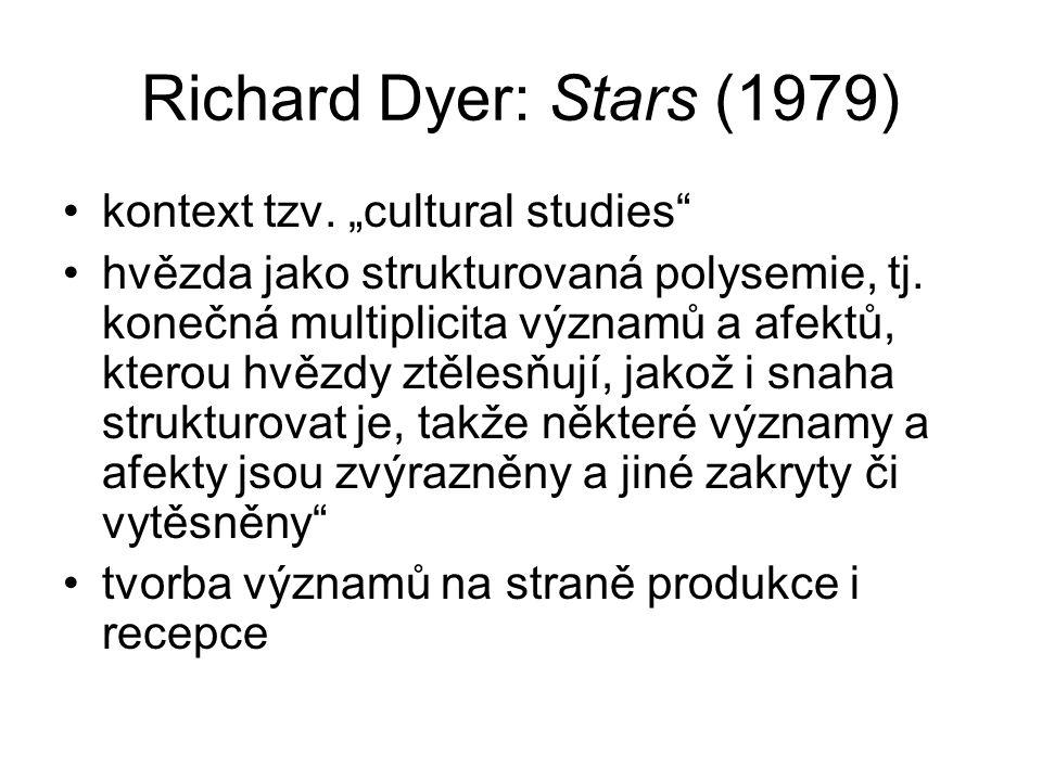 """Richard Dyer: Stars (1979) kontext tzv.""""cultural studies hvězda jako strukturovaná polysemie, tj."""