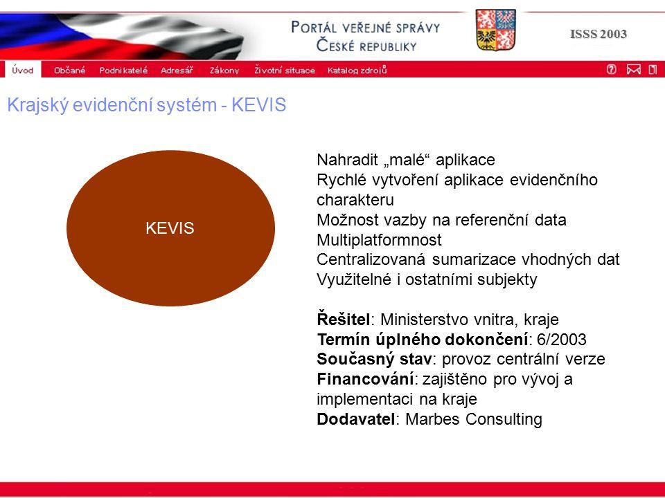 """Portál veřejné správy © 2002 IBM Corporation ISSS 2003 Krajský evidenční systém - KEVIS KEVIS Nahradit """"malé aplikace Rychlé vytvoření aplikace evidenčního charakteru Možnost vazby na referenční data Multiplatformnost Centralizovaná sumarizace vhodných dat Využitelné i ostatními subjekty Řešitel: Ministerstvo vnitra, kraje Termín úplného dokončení: 6/2003 Současný stav: provoz centrální verze Financování: zajištěno pro vývoj a implementaci na kraje Dodavatel: Marbes Consulting"""