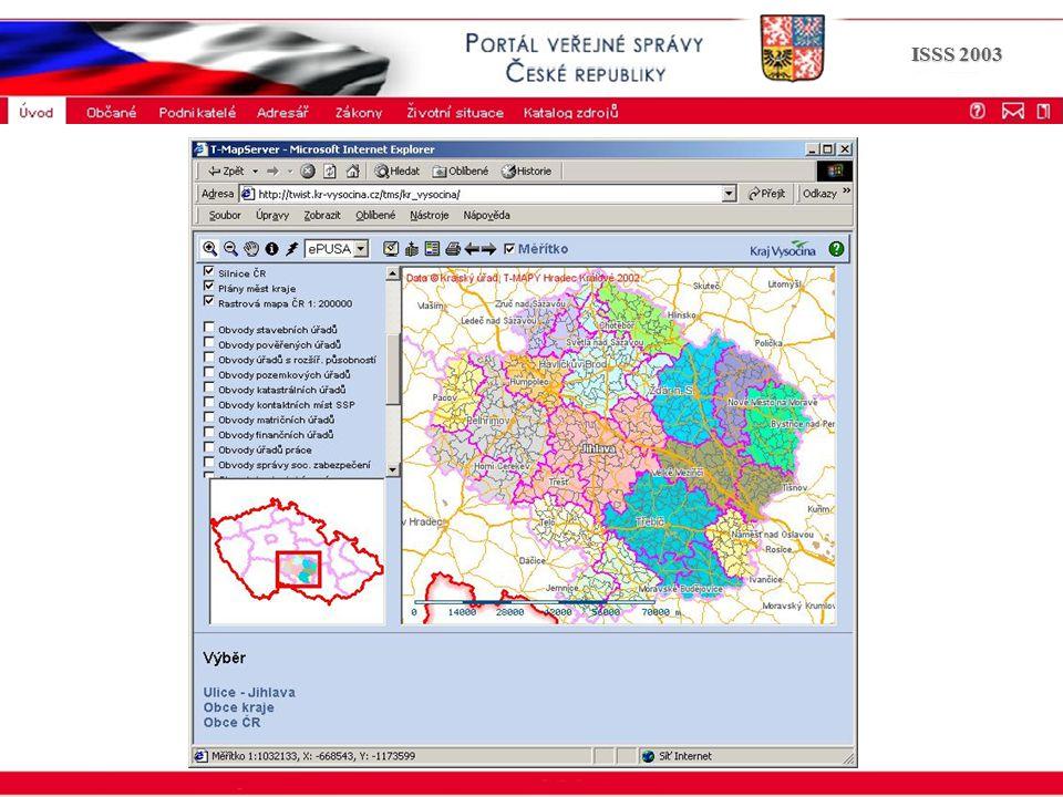 Portál veřejné správy © 2002 IBM Corporation ISSS 2003 Správa datových zdrojů a aplikací - SDZA SDZA Legislativa Agendy Data Aplikace Vazba na organizační strukturu Základní procesní analýza Řešitel: kraje, Ministerstvo vnitra Termín úplného dokončení: 9 /2003 Současný stav: provozováno pro potřeby ÚPG Financování: zajištěn vývoj, ne implementace a provoz Dodavatel: Hydrosoft - T-mapy