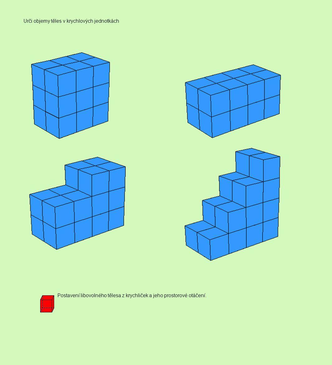 Úkol: Ze stavebnice složte krychle, které budou mít hranu 1, 2, 3, 4 jednotky.