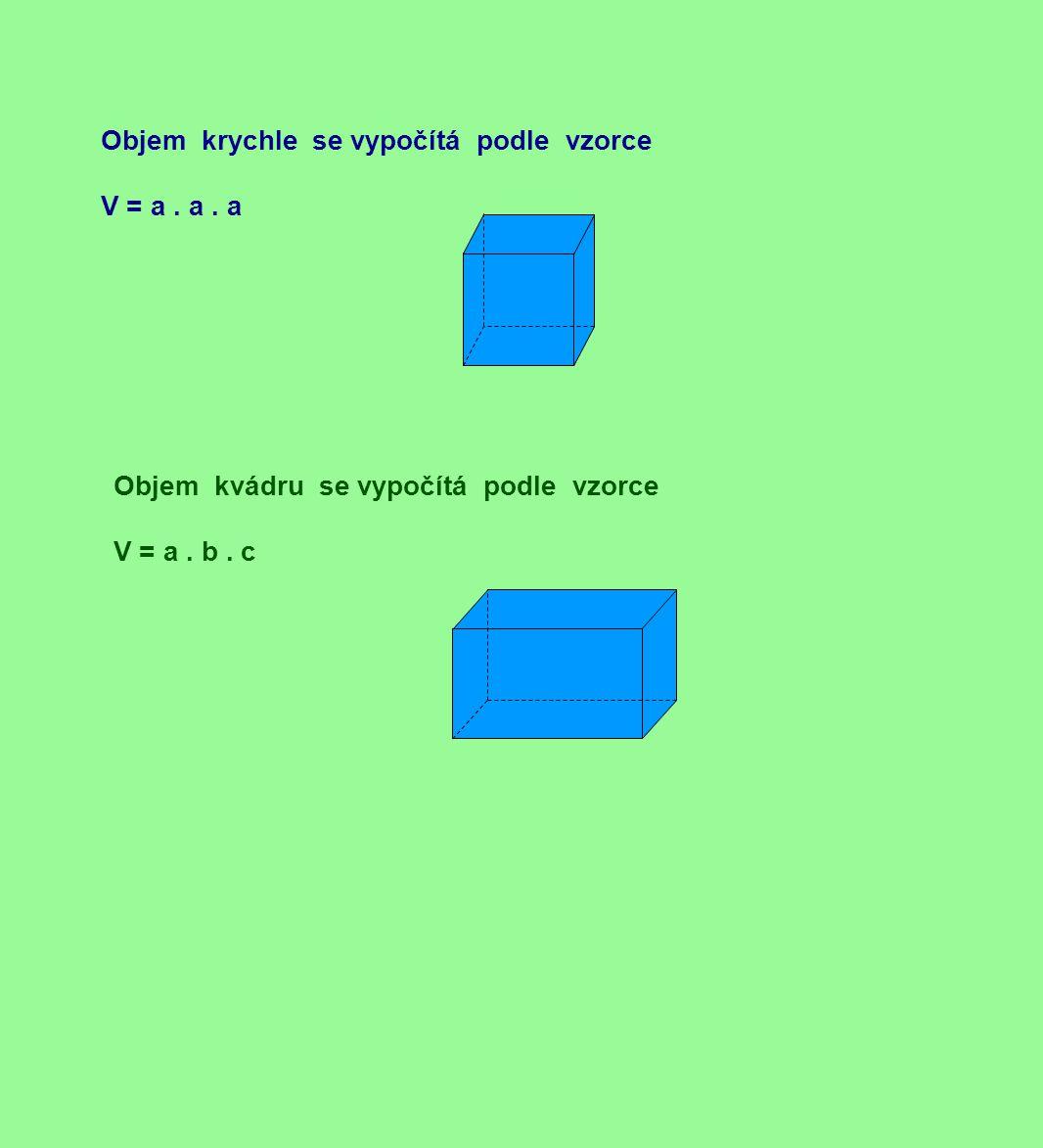 Objem krychle se vypočítá podle vzorce V = a. a. a Objem kvádru se vypočítá podle vzorce V = a. b. c
