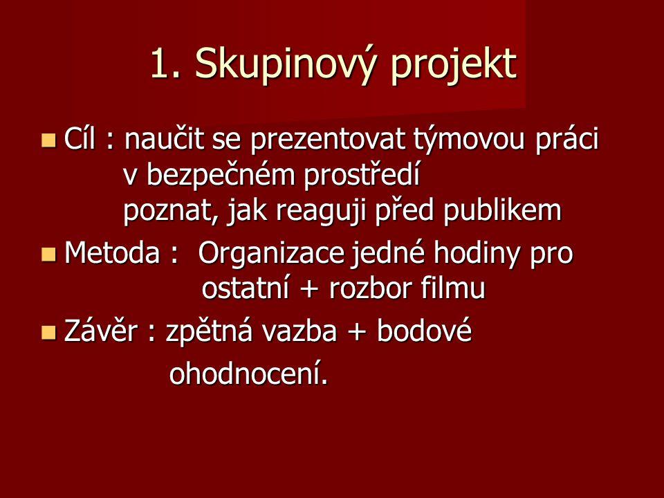 1. Skupinový projekt Cíl : naučit se prezentovat týmovou práci v bezpečném prostředí poznat, jak reaguji před publikem Cíl : naučit se prezentovat tým