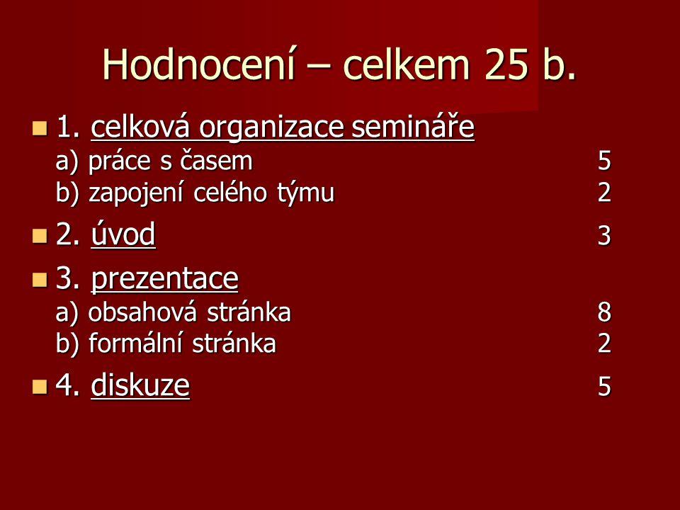 Hodnocení – celkem 25 b. 1. celková organizace semináře a) práce s časem 5 b) zapojení celého týmu 2 1. celková organizace semináře a) práce s časem 5