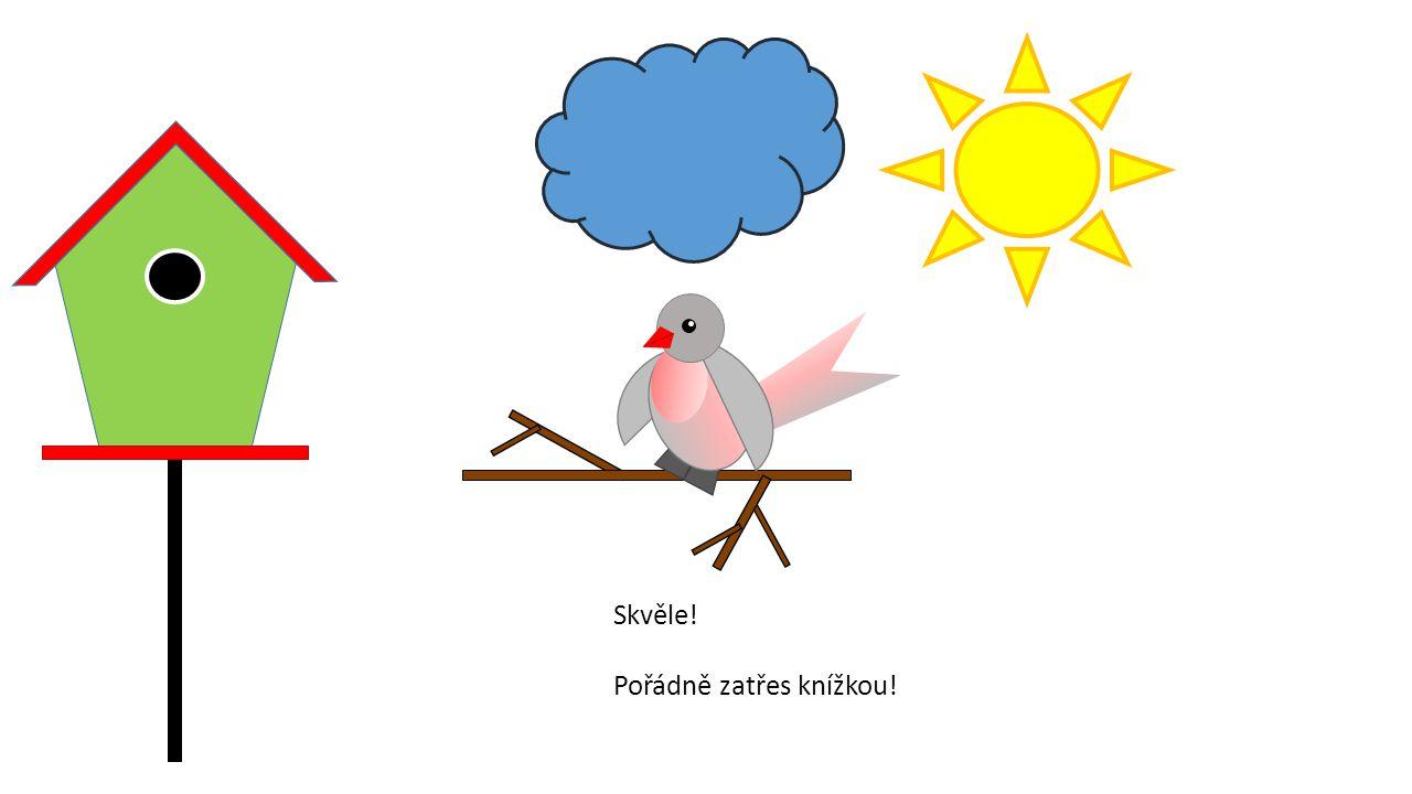 Podívej! Začalo pršet! 3x ťukni na ptáčka, aby se letěl schovat do budky.
