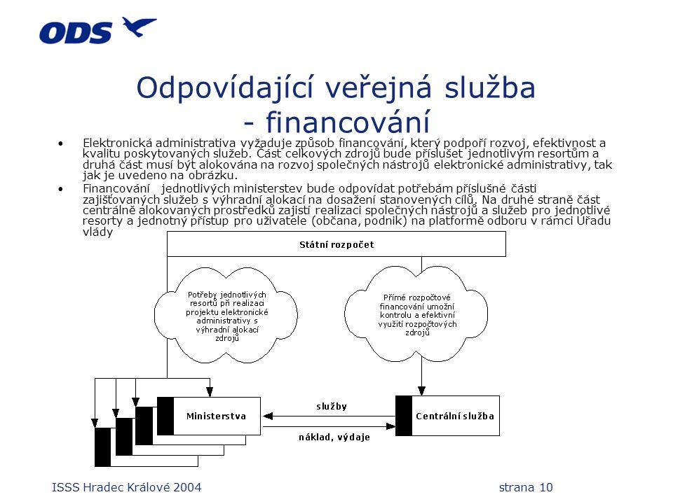 ISSS Hradec Králové 2004 strana 10 Odpovídající veřejná služba - financování Elektronická administrativa vyžaduje způsob financování, který podpoří rozvoj, efektivnost a kvalitu poskytovaných služeb.