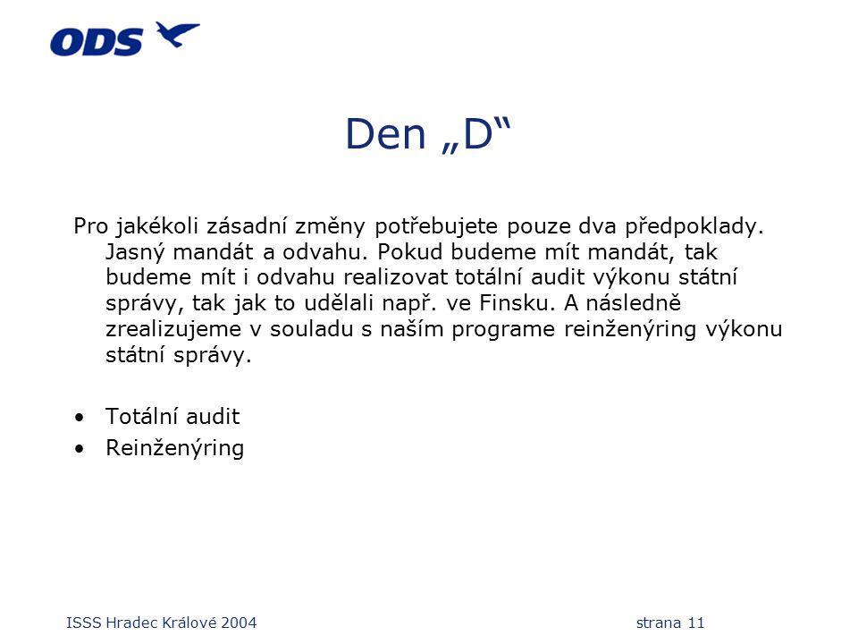 """ISSS Hradec Králové 2004 strana 11 Den """"D"""" Pro jakékoli zásadní změny potřebujete pouze dva předpoklady. Jasný mandát a odvahu. Pokud budeme mít mandá"""