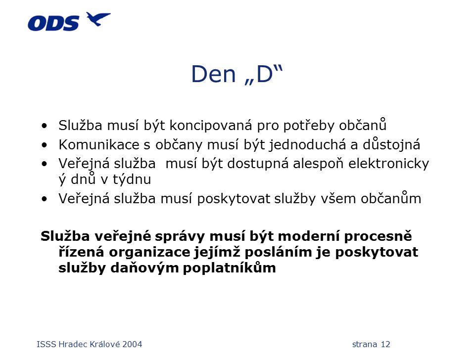 """ISSS Hradec Králové 2004 strana 12 Den """"D Služba musí být koncipovaná pro potřeby občanů Komunikace s občany musí být jednoduchá a důstojná Veřejná služba musí být dostupná alespoň elektronicky ý dnů v týdnu Veřejná služba musí poskytovat služby všem občanům Služba veřejné správy musí být moderní procesně řízená organizace jejímž posláním je poskytovat služby daňovým poplatníkům"""