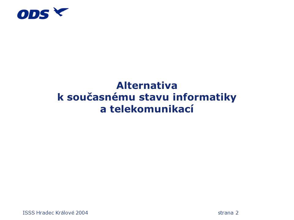 ISSS Hradec Králové 2004 strana 2 Alternativa k současnému stavu informatiky a telekomunikací