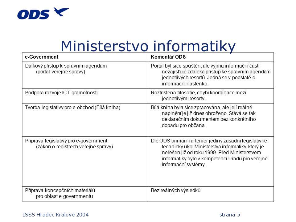 ISSS Hradec Králové 2004 strana 5 Ministerstvo informatiky e-GovernmentKomentář ODS Dálkový přístup k správním agendám (portál veřejné správy) Portál byl sice spuštěn, ale vyjma informační části nezajišťuje zdaleka přístup ke správním agendám jednotlivých resortů.