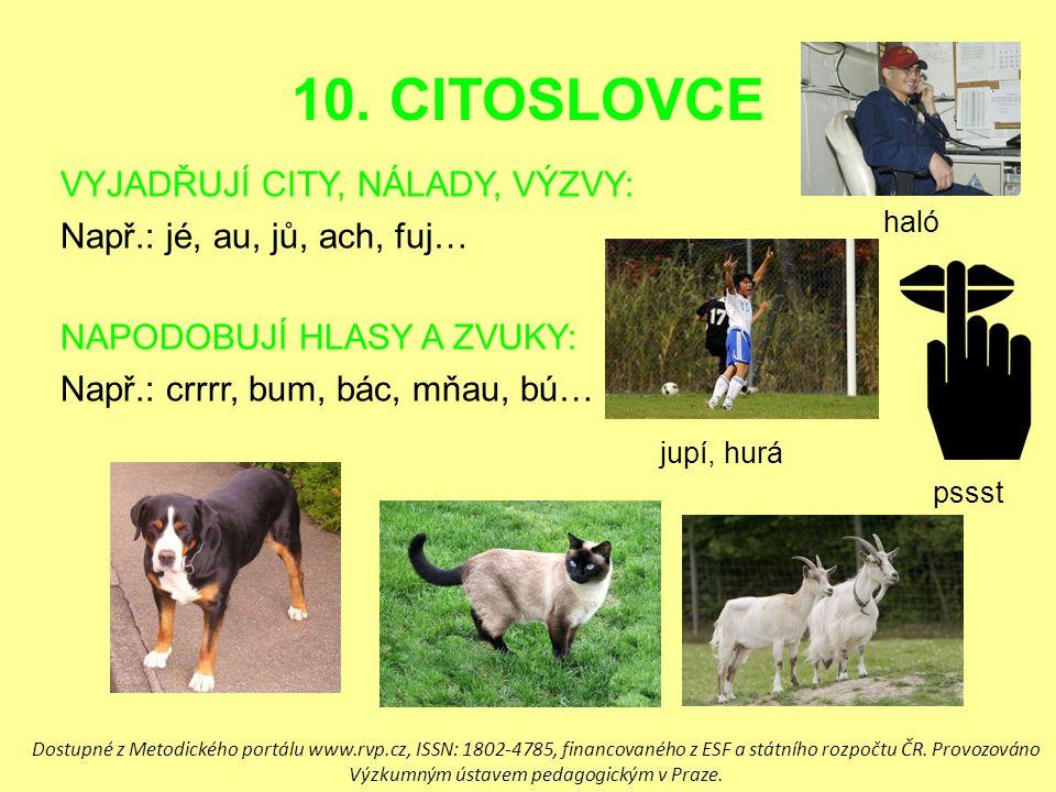 10. CITOSLOVCE VYJADŘUJÍ CITY, NÁLADY, VÝZVY: Např.: jé, au, jů, ach, fuj… NAPODOBUJÍ HLASY A ZVUKY: Např.: crrrr, bum, bác, mňau, bú… haló jupí, hurá